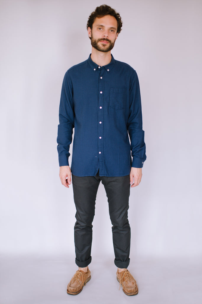 LARCH DOUBLE LAYER CHECKED SHIRT MOONLITE OCEAN