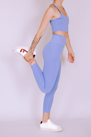 HIGH RISE RECYCLED COMPRESSION CROPPED 7/8 LEGGINGS PERIWINKLE