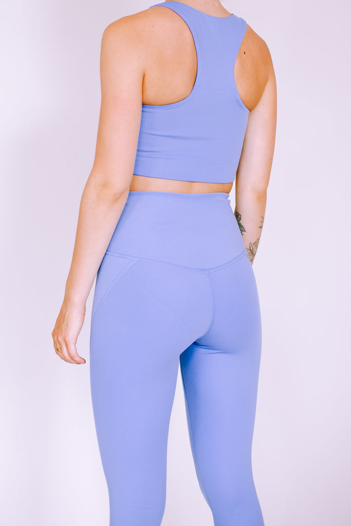 HIGH RISE FULL LENGTH RECYCLED COMPRESSION LEGGINGS PERIWINKLE