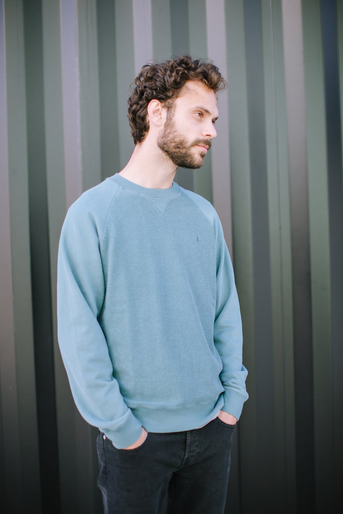 TEXTURED ORGANIC SWEATSHIRT SEA GREEN