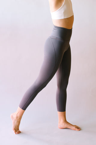 HIGH RISE RECYCLED COMPRESSION CROPPED 7/8 LEGGINGS SMOKE