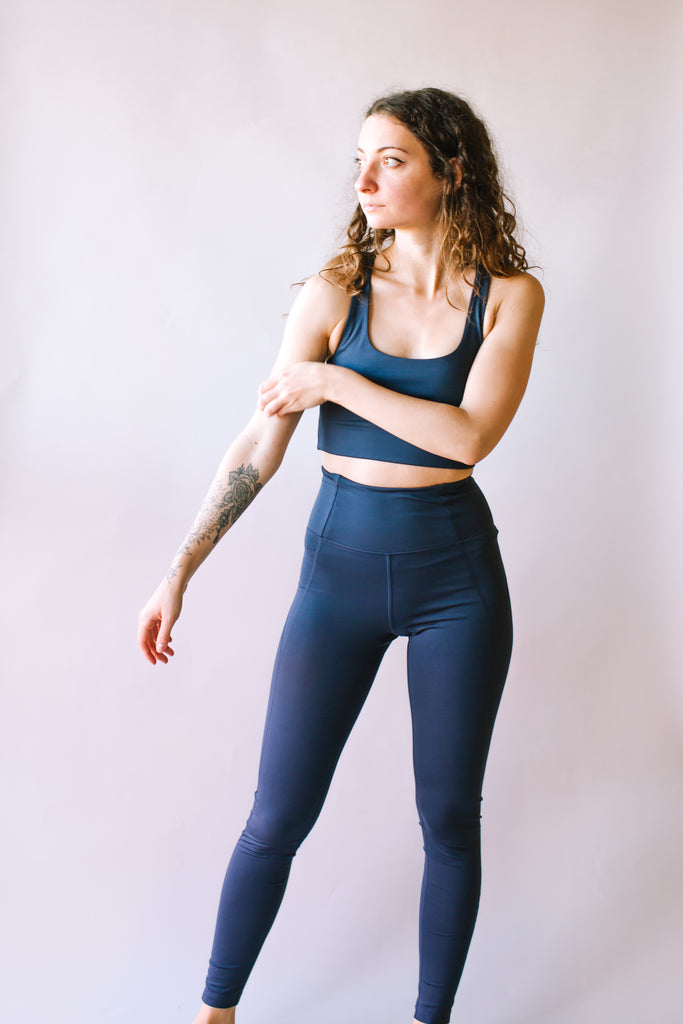 HIGH RISE FULL LENGTH RECYCLED COMPRESSION LEGGINGS MIDNIGHT