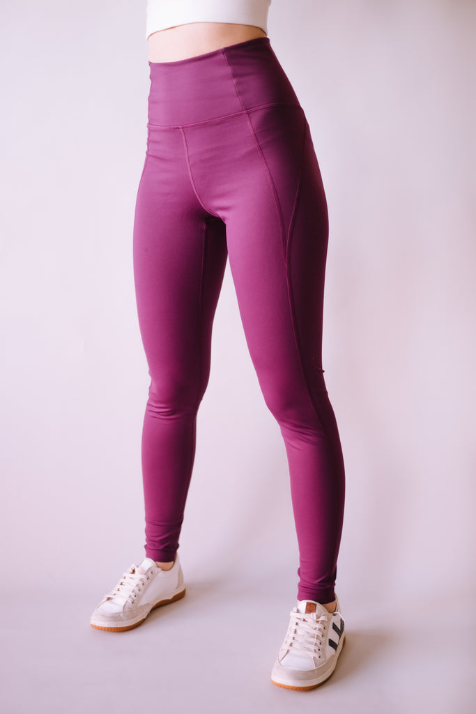 HIGH RISE FULL LENGTH RECYCLED COMPRESSION LEGGINGS PLUM