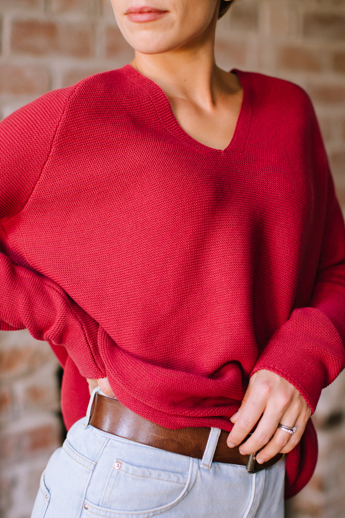 KNITTED ORGANIC JUMPER ROSEWOOD