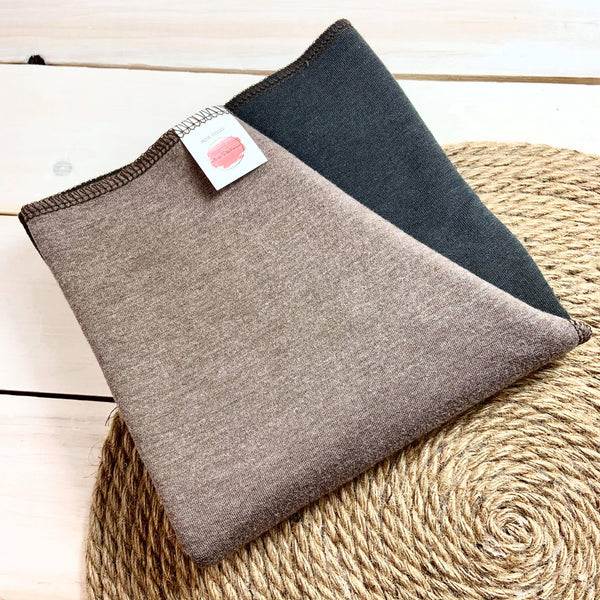 Couche Plate Coco 3/4 «Chocolat et Charcoal» (French Terry de Bambou et coton extensible)