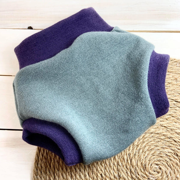Couvre-couche Bumby «Woolie Lambs ear et Eggplant»