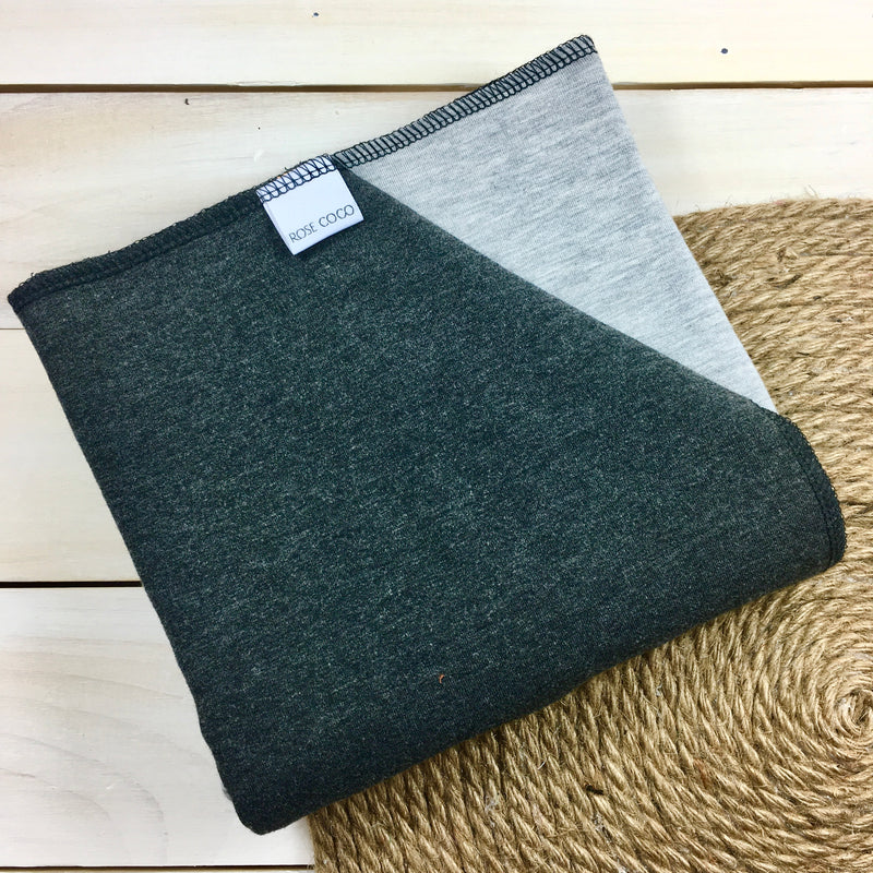 Couche Plate Coco 3/4 «Charcoal» (French Terry de Bambou/coton extensible et French Terry Bambou/laine de mérinos))