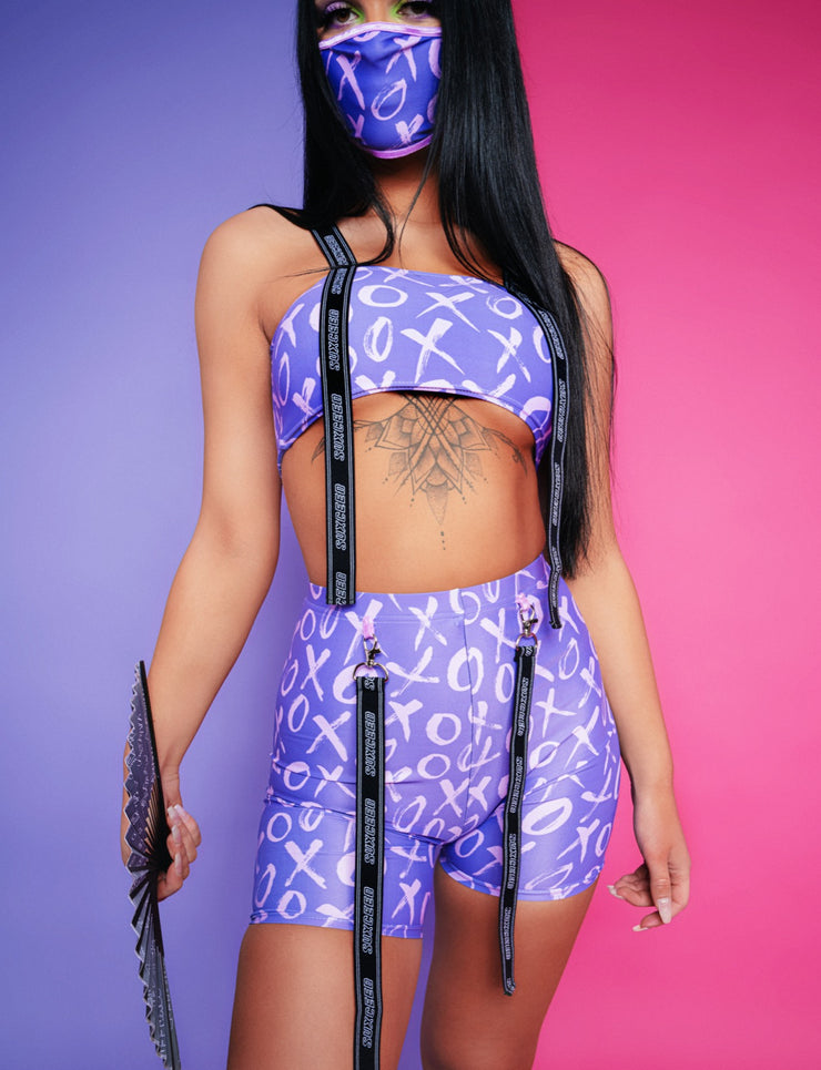 xo purple suxceed womens festival rave shorts