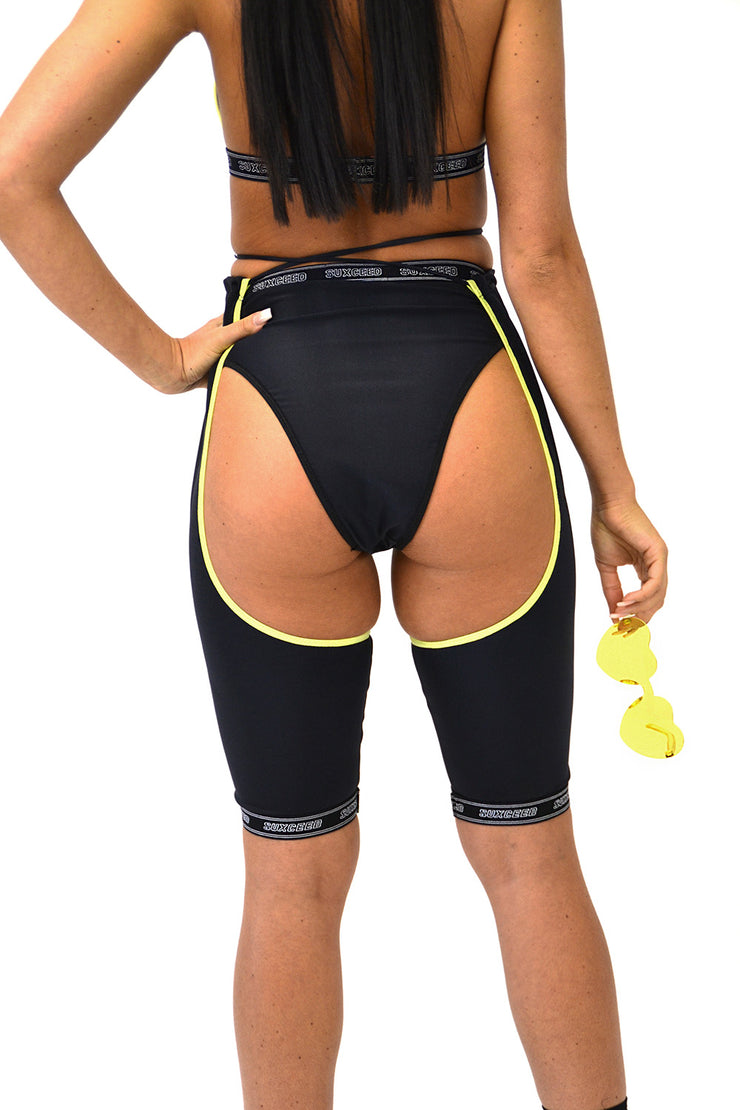 Black & Yellow Short Chaps