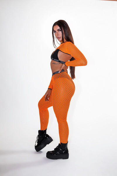 Orange Holey Shh Leggings