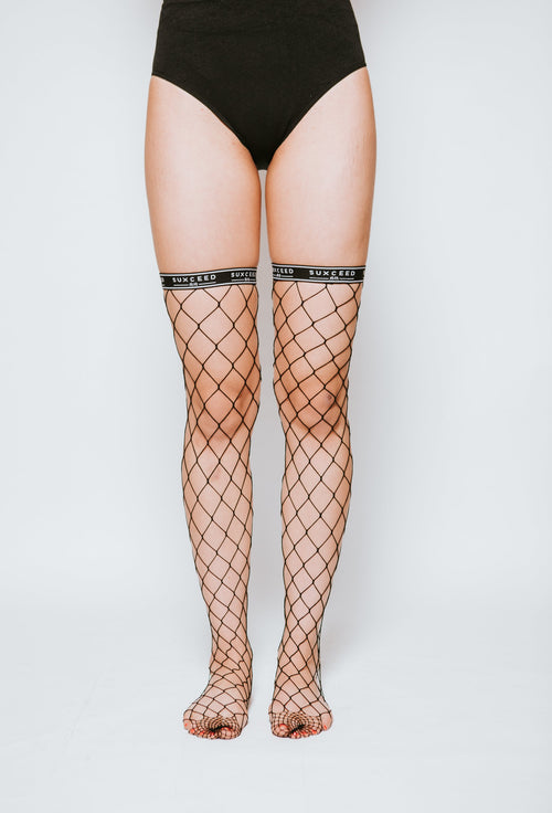 Suxceed Womens Black Fishnet Socks