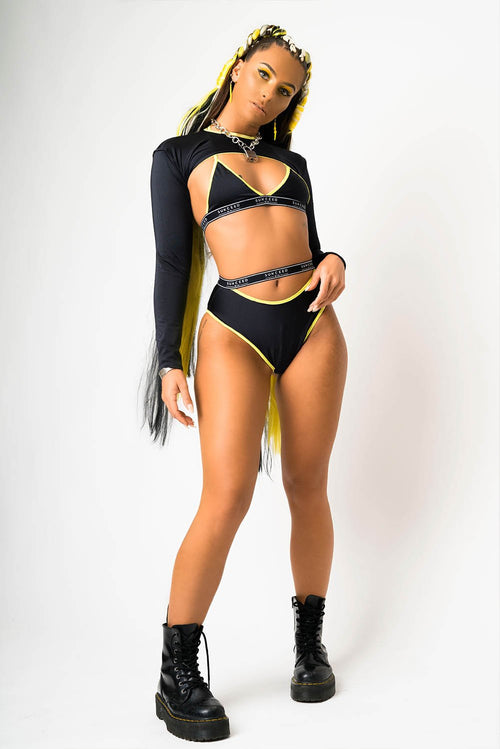 Black & Yellow Caution Bra