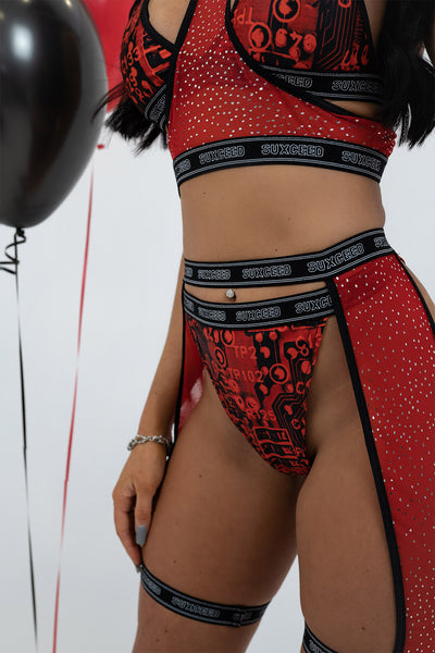 Red Glitter Mesh Leg Harness