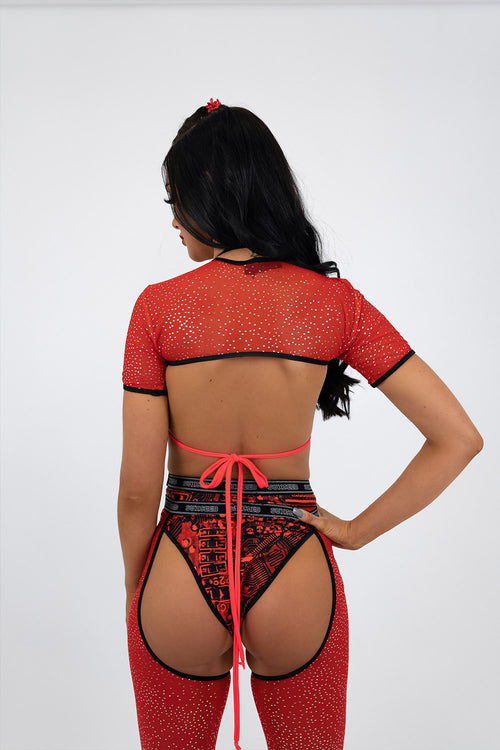 Red Glitter Mesh Super Crop