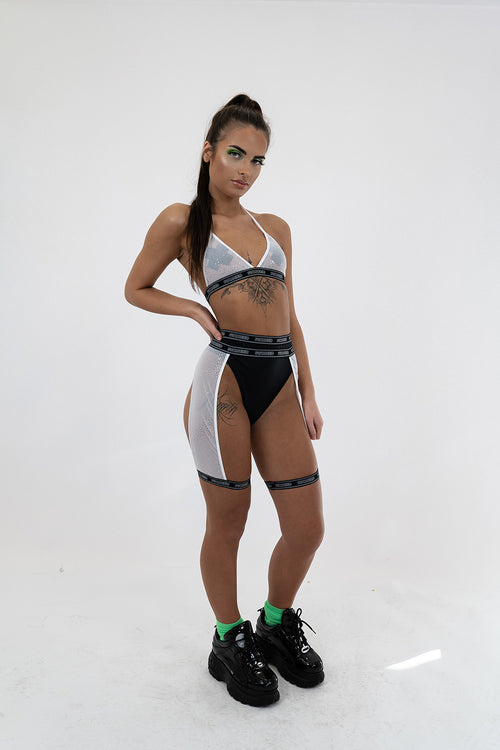 White Glitter Mesh Leg Harness