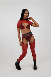 Red Glitter Mesh Chaps