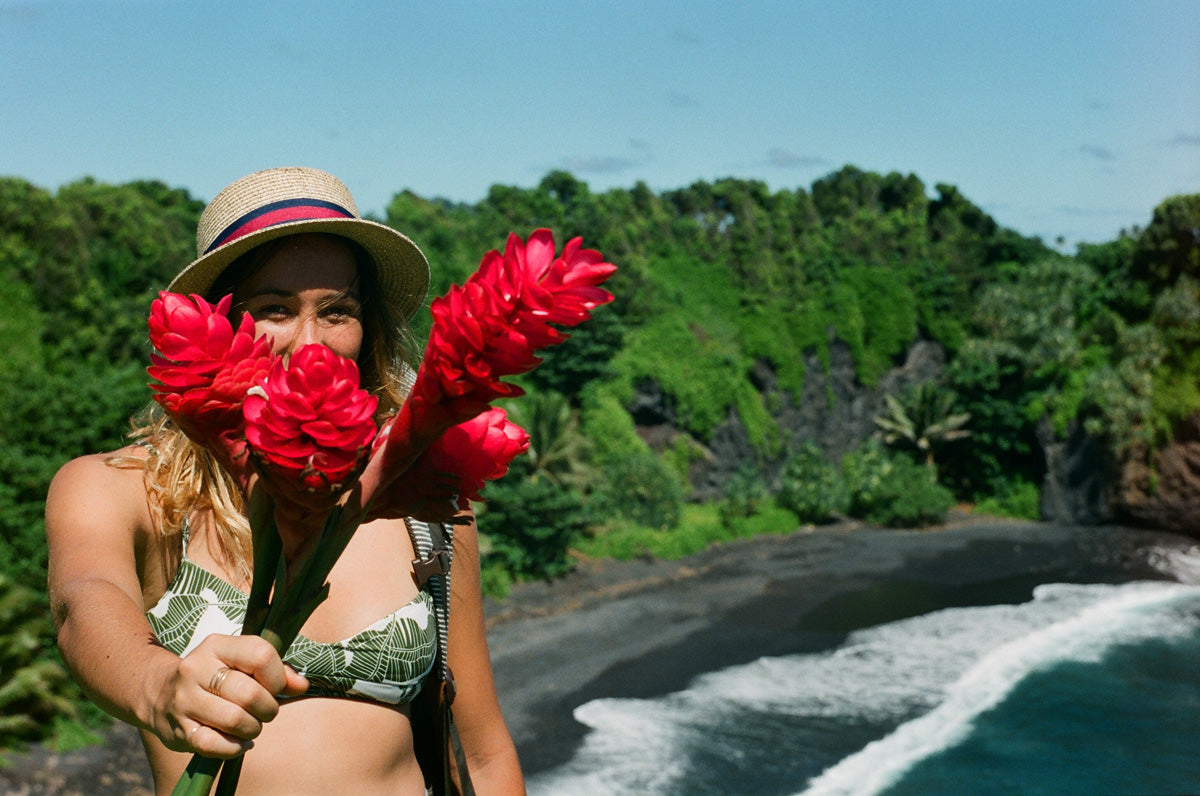 Sierra Lerback on the Road to Hana, wearing the Ines Bikini top.