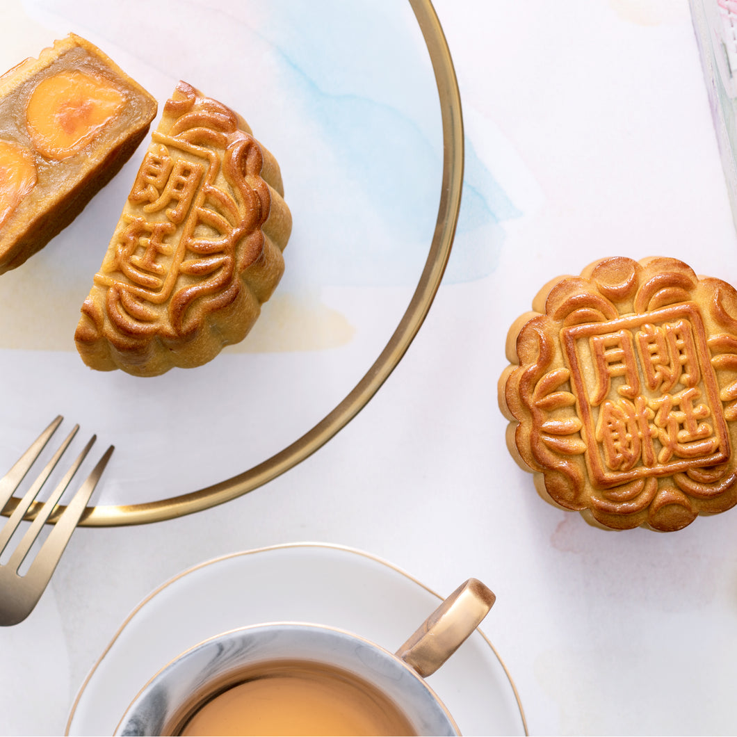White Lotus Seed Paste Mooncake with Double Egg Yolks - 4 pieces/approx. 150g each