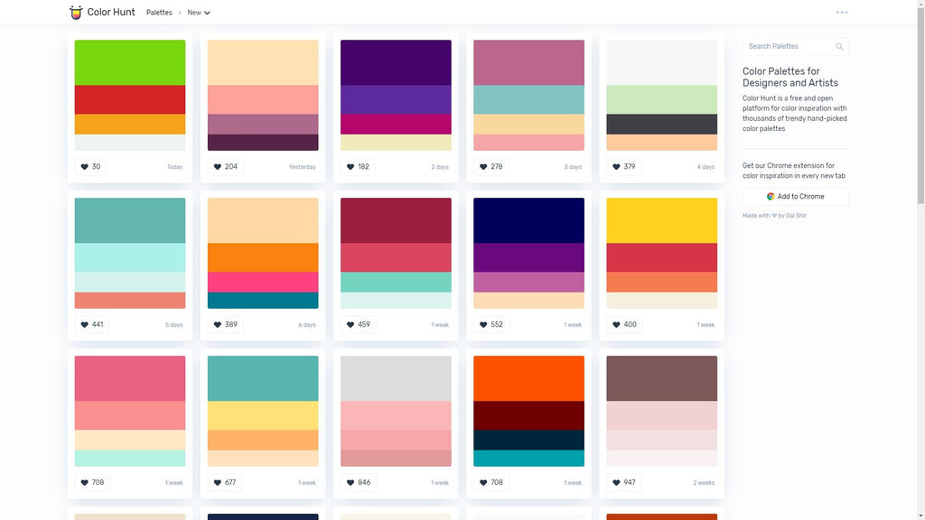 color hunt Color Palettes for Designers and Artists
