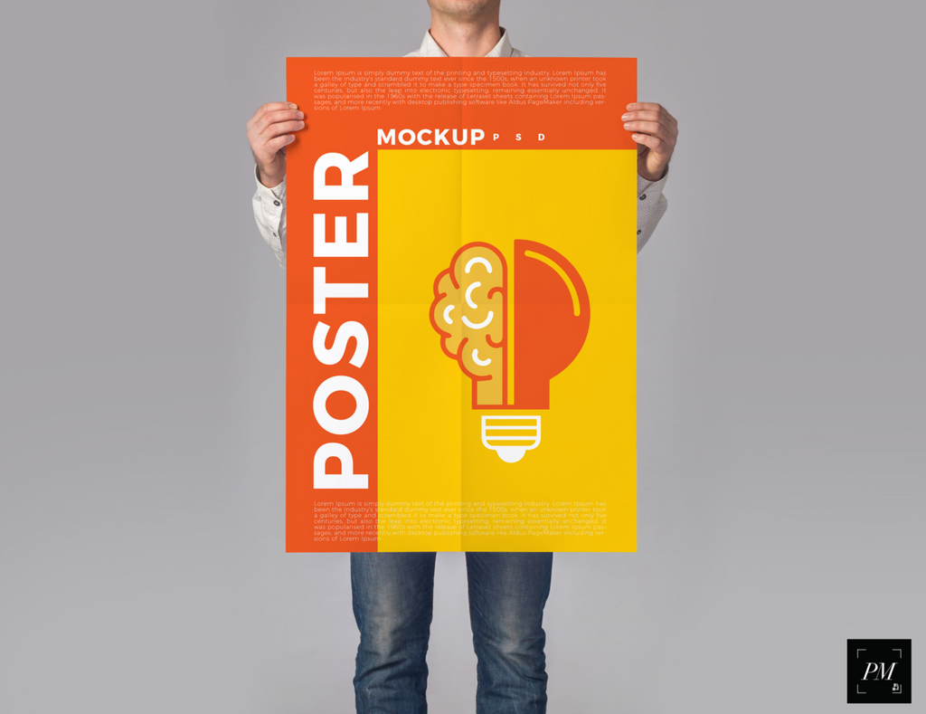man holding a poster mockup