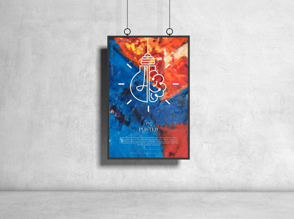 poster mockup concrete wall