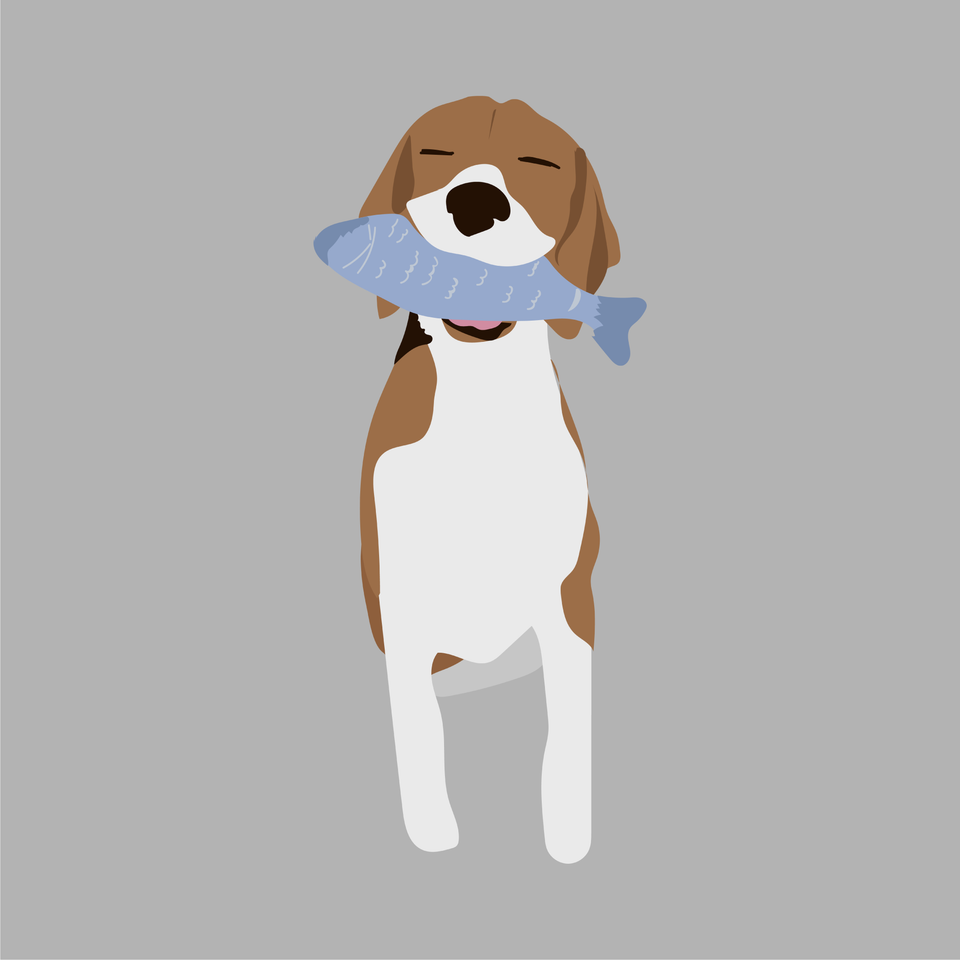animals vector illustration flat dog eating