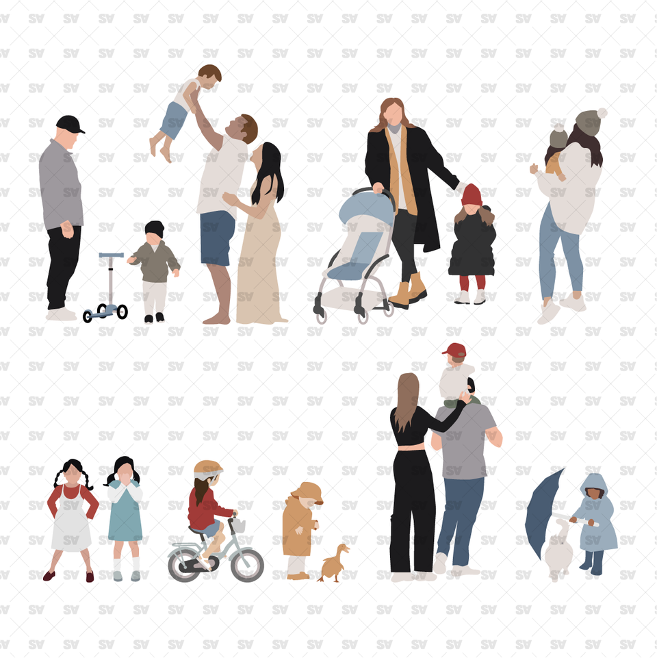 Flat Vector Family Characters