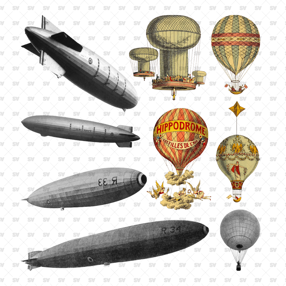 Cutout Zeppelins and Hot-Air Balloons