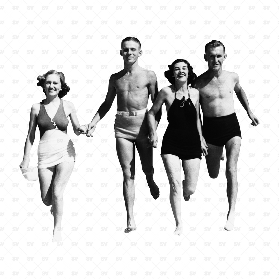 Swimming Bathing Beaching Cutout Characters