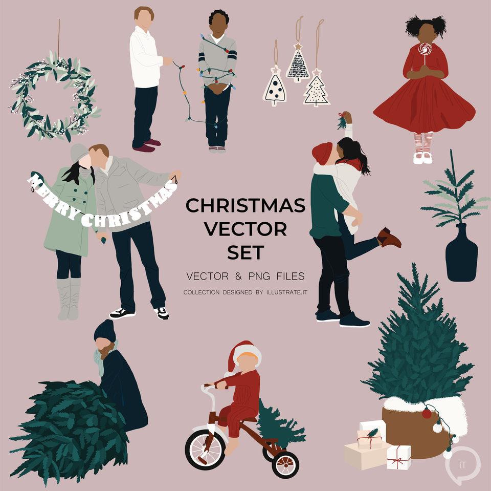 vector christmas poeple