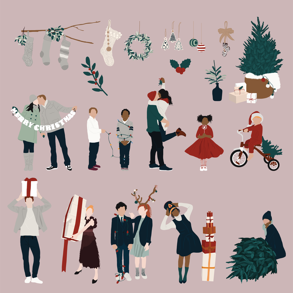 flat vector christmas people decorations