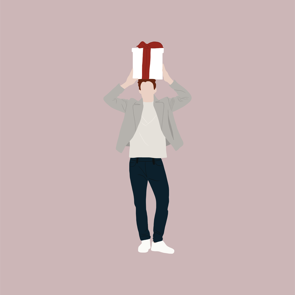 flat vector man with a present on his head