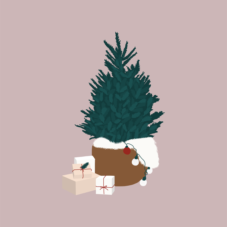 flat vector christmas tree