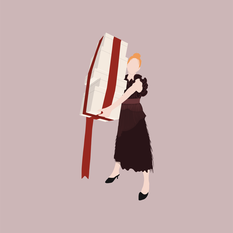 flat vector woman with gifts