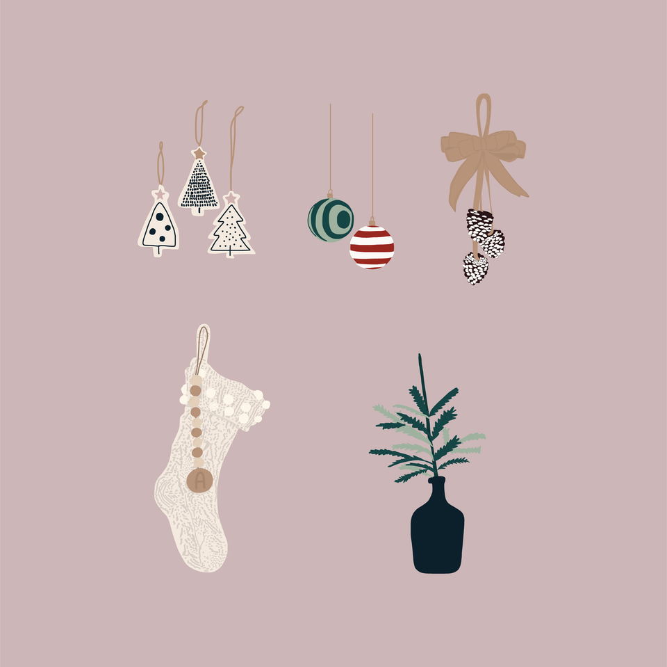 flat vector christmas decorations ornaments
