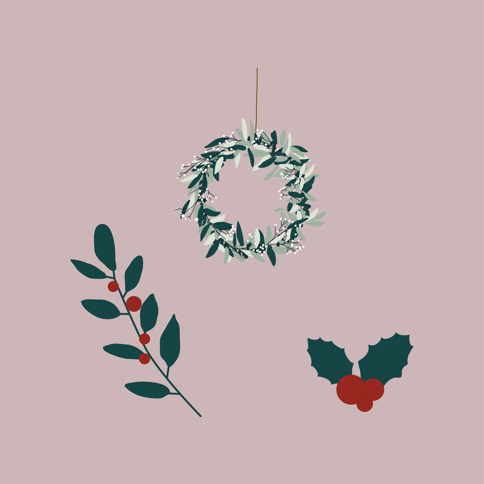 christmas holly wreaths vector