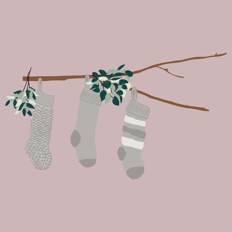 flat vector christmas socks