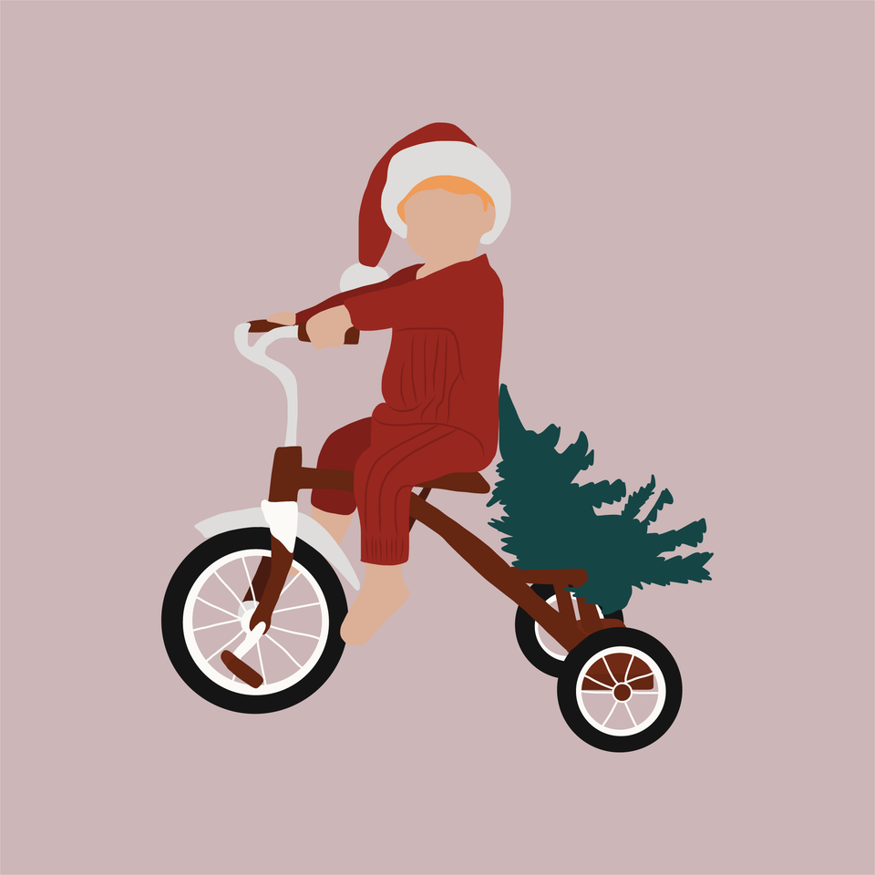 flat vector kid on a bike