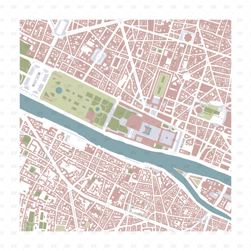 Vector map of Paris, France download