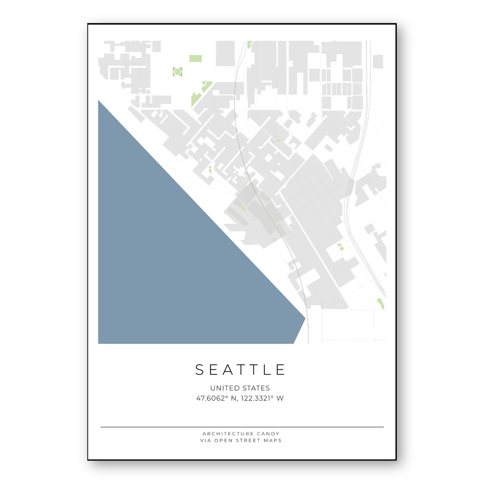seattle vector map poster