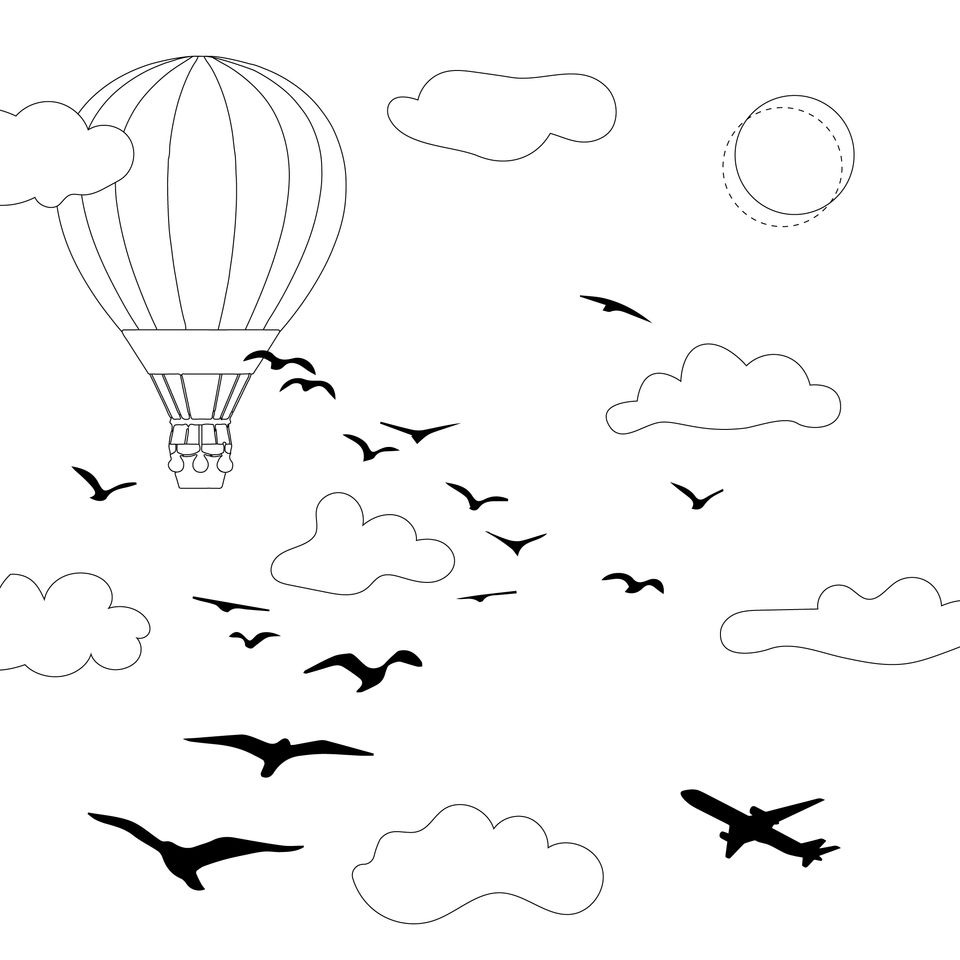 vector sky clouds birds hot air balloon