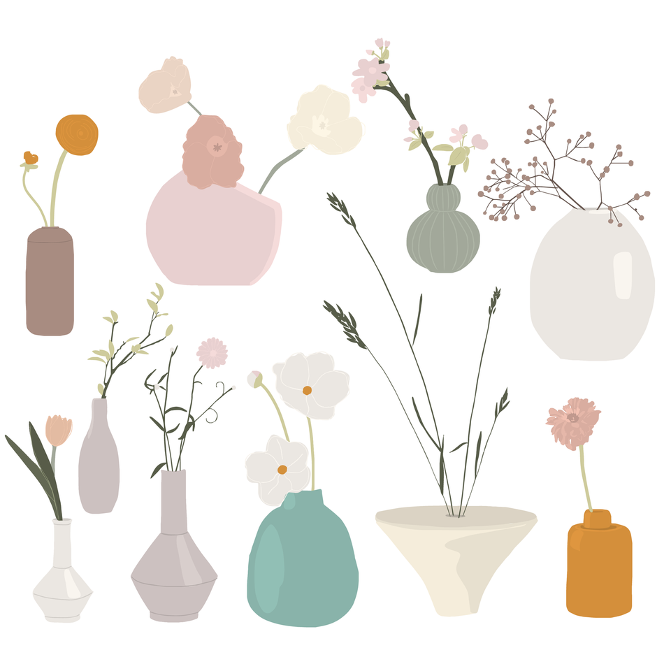 flowers in vases vector