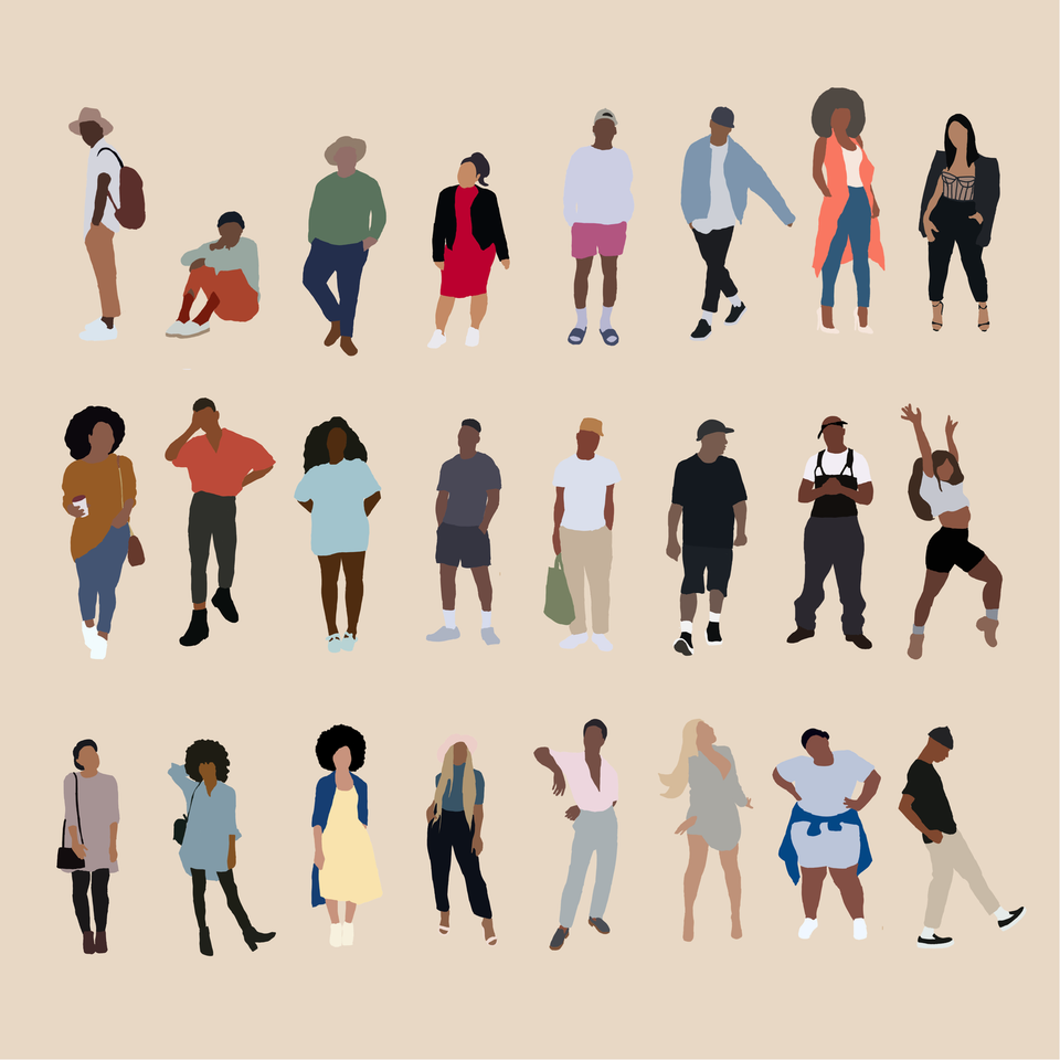 flat vector people black