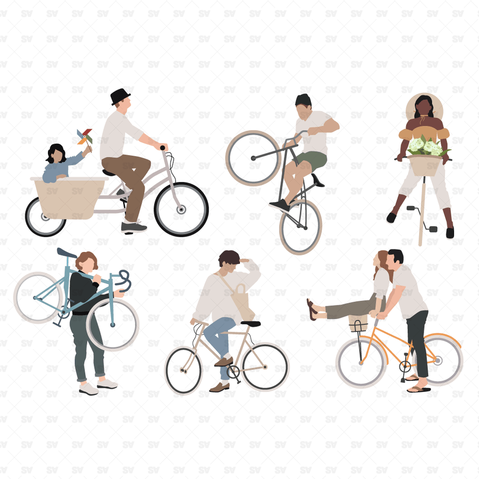 flat vector people on bicycles