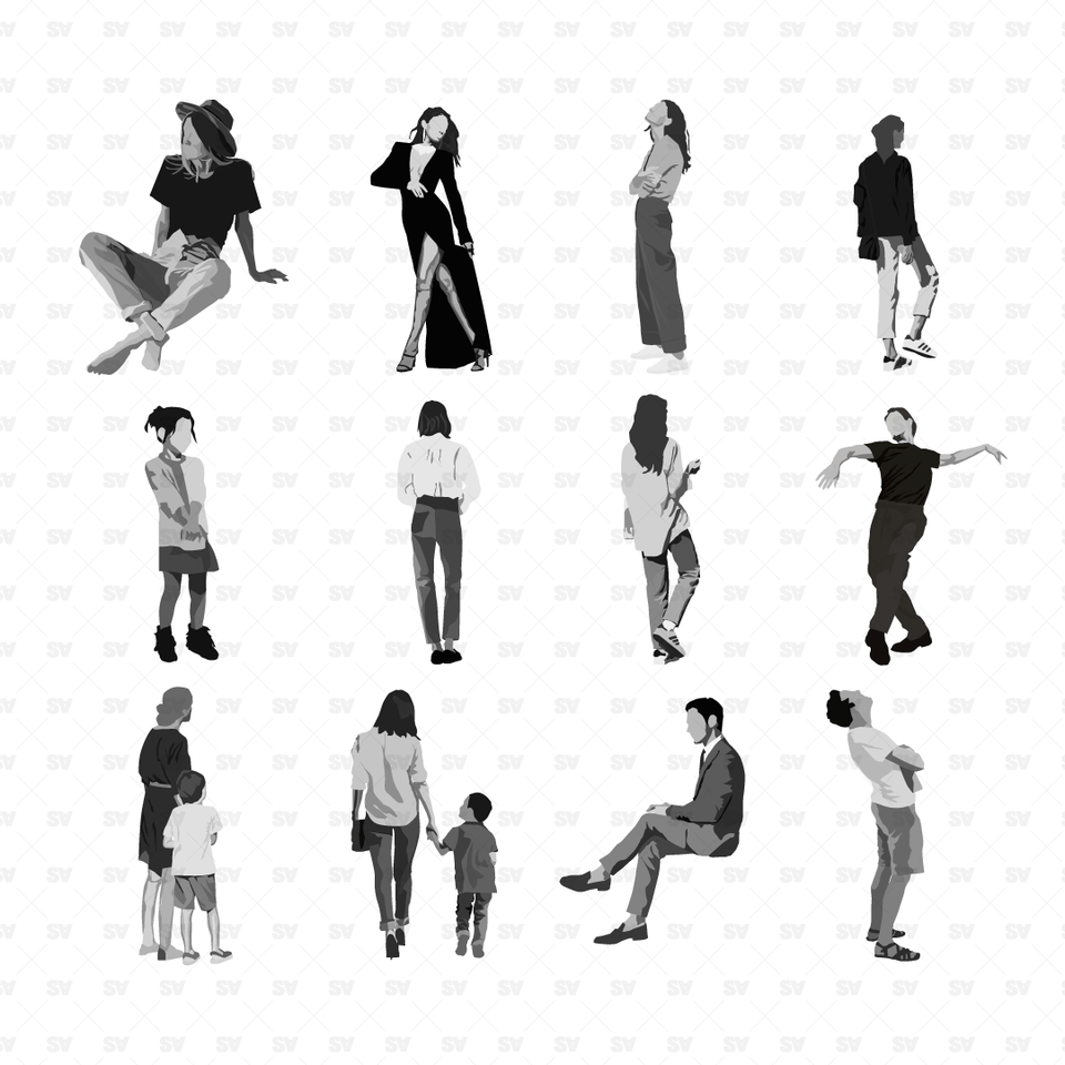 Grayscale People (12 People)