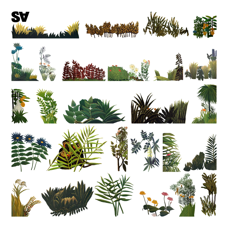 Set of Plants based on Henri Rousseau Works of Art-Cutouts-Studio Alternativi