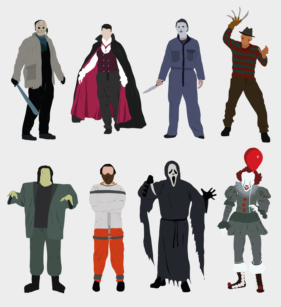 Halloween people flat vector png