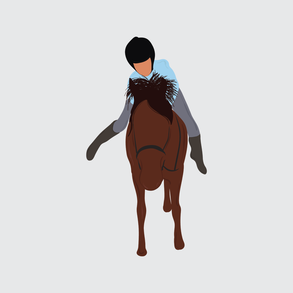 flat vector people illustration horse riding