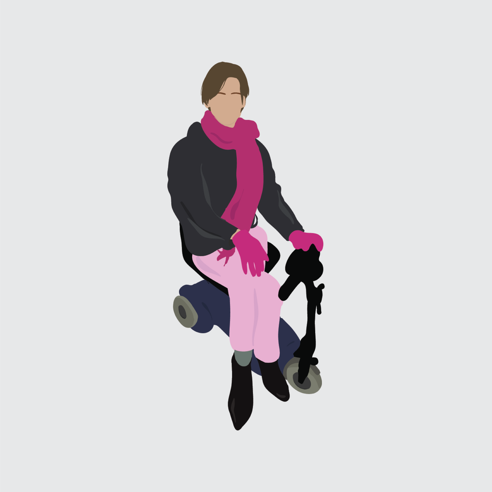 flat vector people illustration scooter