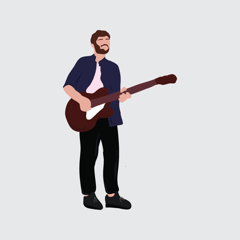 flat vector people illustration guitar musician